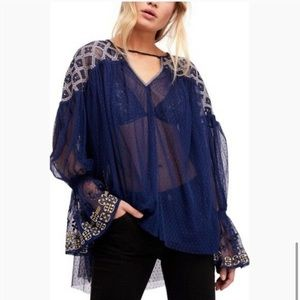Free People Joyride Sheer embroidered Lace Blouse